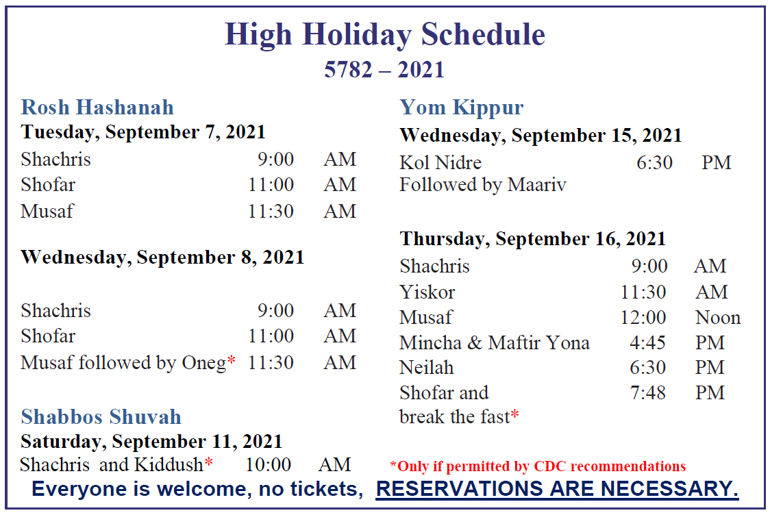 High Holiday Schedule 2021